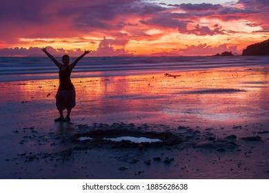 Silhouette of Sunset  beautiful sea view background at Ko Phayam,thailand