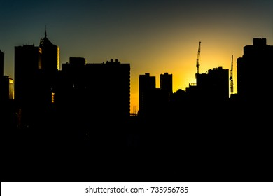 Silhouette Sunset and Clear Sky in Melbourne, Australia
