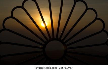 Silhouette sunset at Kyaikhtiyo, Myanmar