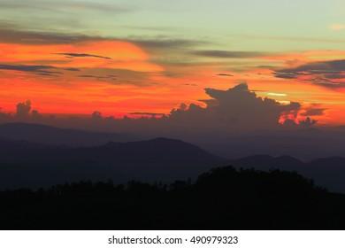 silhouette sunset landscape at Phu Soi Dao national park Thailand