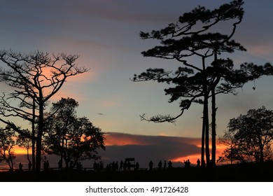 silhouette sunset landscape at Phu Soi Dao national park Thailand
