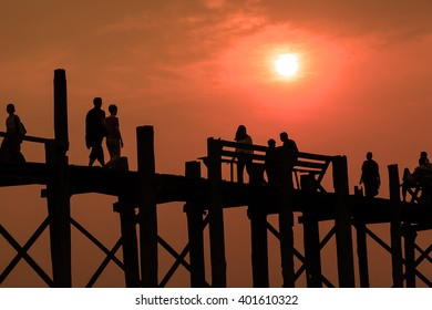 Silhouette /Sunset on U Bein Bridge, Amarapura, Myanmar Burma
