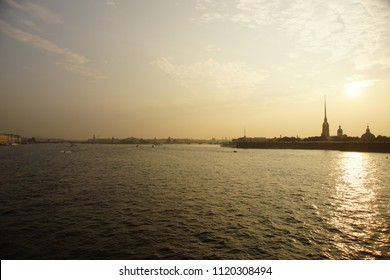 Silhouette at sunset, Peter and Paul Fortress, landmark in St. Petersburg