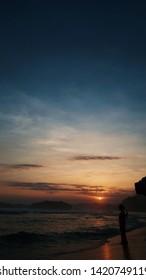Silhouette sunset view from jogjakarta southern beach indrayanti