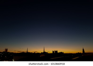 silhouette, sunset, Worcester