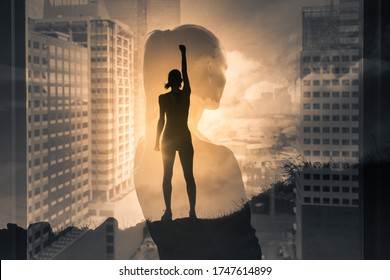 Silhouette of super strong successful business woman. Mental strength, determination, and people power, positive thinking concept. double exposure.