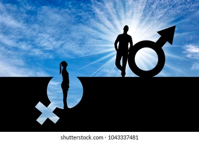 The silhouette of a superior man over a woman who stands in a pit out of a gender symbol. The concept of gender inequality and discrimination
