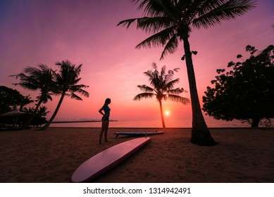Silhouette of surfer girl with long surf board at sunset on tropical beach. Background