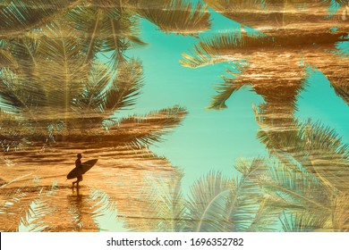 Silhouette of a surfer at sunset, double exposure photography with palm trees