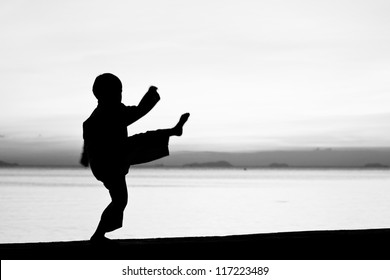 Silhouette taekwondo boy on the beach at dusk. Black and whit picture.