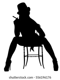 A silhouette of tall, athletic, European woman wearing a top hat and high heels and sitting on a chair in a confident, sexy yet sensual pose against a white background.