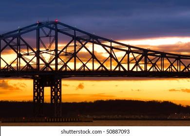 Silhouette of the Tappen Zee Bridge over the Hudson
