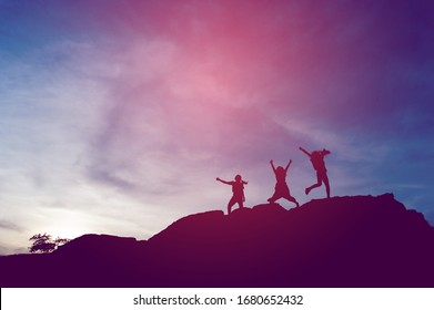 Silhouette of team leadership, teamwork and teamwork and delightful silhouette concepts