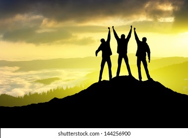 Silhouette of a team. Sport and active life concept