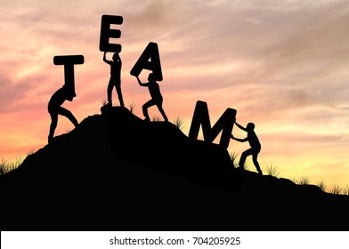 silhouette team work of men helping and lifting word, concept as  improving and development business