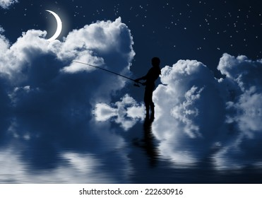 Silhouette of teenager girl fishing at night