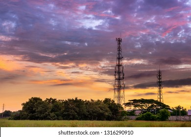 Silhouette of Telecommunication and Communication Tower Antenna at Sunrise Cloud Sky., Technology 3G,4G of Industrial Transmission Network. Engineering Connection.