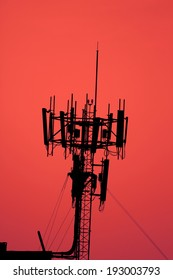 The silhouette of telecommunication tower