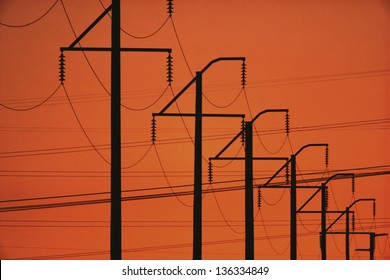 Silhouette of telephone lines