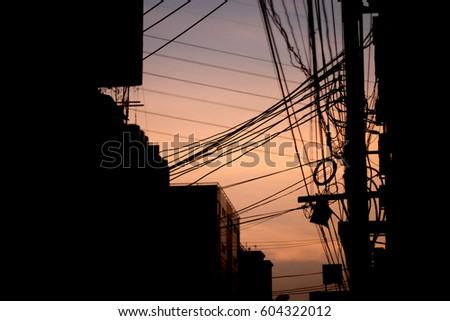 Pleasing Silhouette Telephone Wires High Voltage Lines Stock Photo Edit Now Wiring Digital Resources Sapredefiancerspsorg