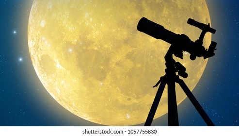 Silhouette of a telescope with full Moon and stars. My astronomy work.