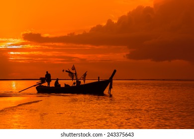 Silhouette of Thai Fishing Boat in South Thailand
