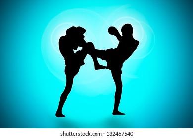 Silhouette thai's boxing