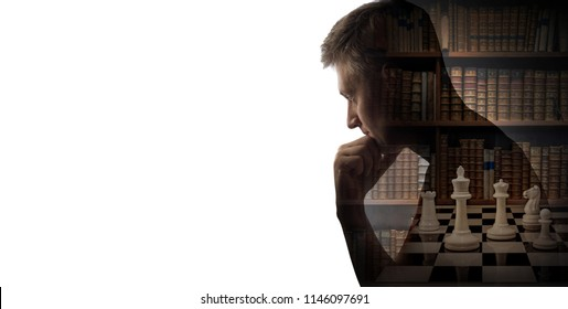 Silhouette of thinking man, book and chess pieces isolated on white background. The concept on business, strategy, success and history topics.