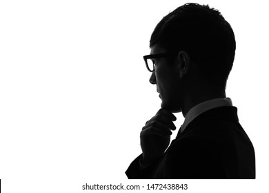 Silhouette of a thinking young businessman. businesspeople concept.