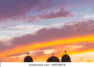 Silhouette of three cross in the sunset, religion concept