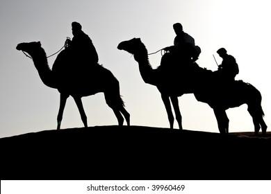 silhouette of three man riding dromedaries in the desert