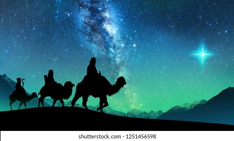 Silhouette of Three wise men riding a camel along the star path. To meet Jesus at first birth.