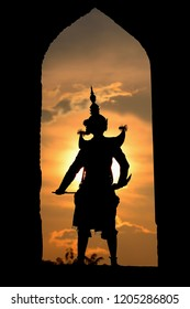 Silhouette Tos Sa Kan in Ramayana,  the greatest Thai classical mask dance (Khon), Ayuthaya, Thailand.