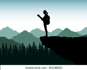 Silhouette of the tourist, climber of the girl, woman on the edge of a cliff of the stone with a backpack. The traveler costs on the edge of the mountain, a plumb and looks at a map or route. Cloudy