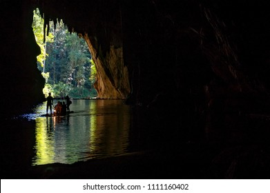 Silhouette tourist inside Tham Lod cave Pai, Mae Hong Son,  Tham Lod Cave one of the most amazing cave in Thailand.