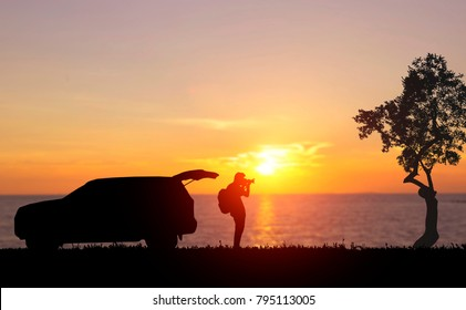 silhouette of Tourist photograph Sea, summer vacation