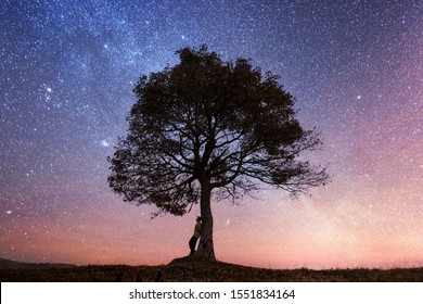 Silhouette of tourist sitting under majestic tree at evening mountains meadow at sunset. Dramatic colorful scene with clear orange sky. Landscape photography