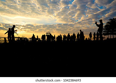 Silhouette of the Tourists and sunrise at Yun-Lai Viewpoint Pai Thailand