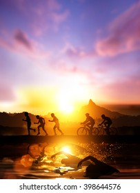 silhouette of Triathlon for background