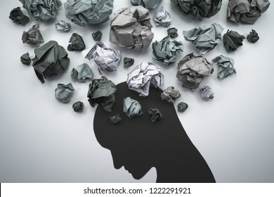 Silhouette of troubled person head. 