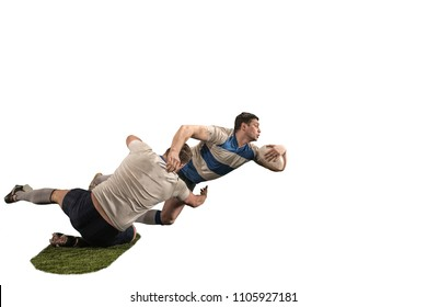 The silhouette of two caucasian rugby man players isolated on white background. Studio shot of fit man in motion or movement with ball. Game and action concept. Incredible strain of all forces