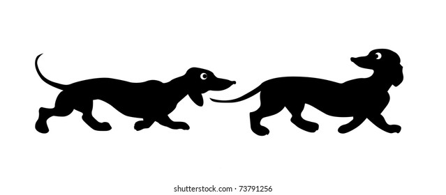 silhouette two dogs on white background
