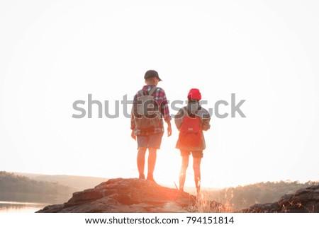 Silhouette Two Kids Hiking Backpacks Walking Stock Photo Edit Now