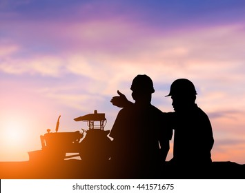 silhouette two men agricultural harvest farming by tractor. The growth of the agricultural world. Business, industry, People, harvest farming, Technology of agricultural, Transportation concept