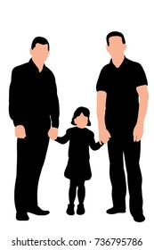 silhouette of two men and a child