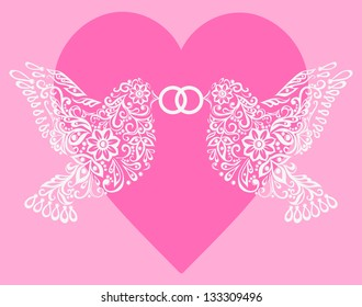 Silhouette of two white birds that hold the ring against pink hearts,Postcard to the Valentine's Day, Mother's Day or a wedding. A copy of the vector format is in the author's profile