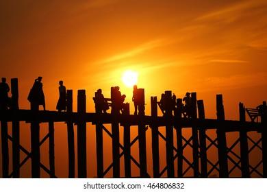 Silhouette U Bein Bridge Mandalay Burma