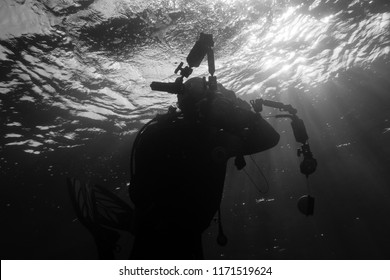 Silhouette of a underwater photographer diving in the Red Sea, Egypt