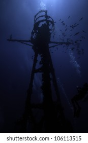 Silhouette of Underwater shipwrecks crows nest with a blue water background in Key Largo, Florida. The Coast Guard Cutter Duane in John Pennekamp State Park.