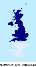 A silhouette of the United Kingdom over a pale blue background